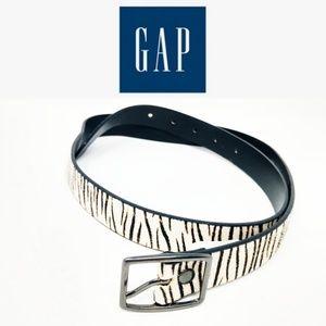 Gap Women's White Black Zebra Print Calf Hair belt